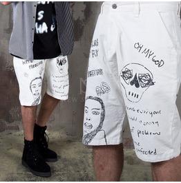 Unique Scribble Printed Denim Baggy Shorts 99