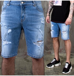 Ripped Light Blue Short Jeans 396