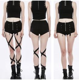 Women Gothic Shorts Sexy Women Mini Shorts With Long Strap Belts
