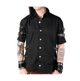 Mens Gothic Shirt Black Cotton Denim Side Leather Straps Bondage Style Shir