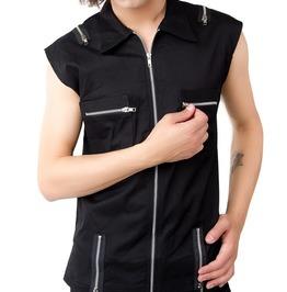Mens Denim Vest Gothic Black Cotton Punk Style Zipper Vest For Men