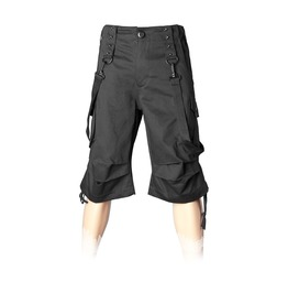 Men Bermuda Shorts Gothic Cargo Pockets Bondage Straps Black Denim Shorts F