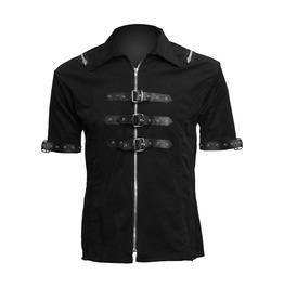 Mens Gothic Shirt Black Denim Cotton Leather Straps Steampunk Style Shirt