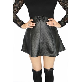 Daddy Pleated Bow Skirt~ Quilted Pleather