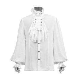 Punk Rave Y 522 Jacquard Frill White Jabot Long Sleeve Victorian Goth Shirt