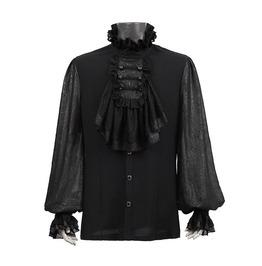 Punk Rave Y 522 Jacquard Frill Black Jabot Long Sleeve Victorian Goth Shirt