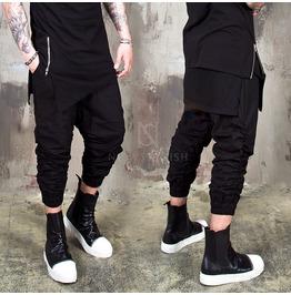 Shirring Black Crop Banding Pants 242