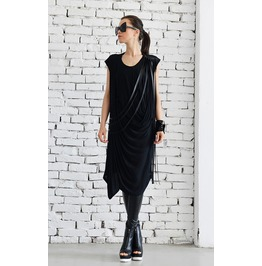 Maxi Dress/Loose Black Dress/Black Dress/Long Tunic/Fringe Leather Tunic