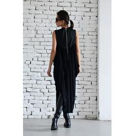 Long Asymmetrical Black Tunic / Draped Black Tunic / Zipper Black Dress /