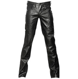 Men Black Denim Pant Gothic Black Faux Leather Punk Rock Jeans Pant