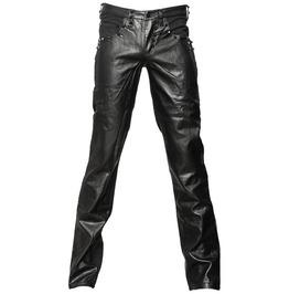 bb4d70bed0b Men Black Denim Pant Gothic Black Faux Leather Punk Rock Jeans Pant