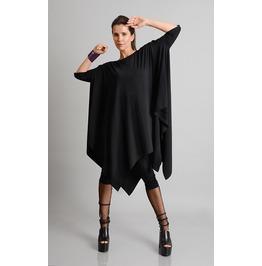 Black Maxi Tunic/Asymmetric Loose Top/Casual Everyday Tunic/Maxi Black Top
