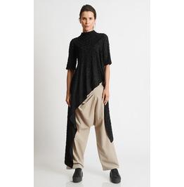 Asymmetric Black Tunic/Oversize Tunic Top/Short Sleeve Casual Tunic