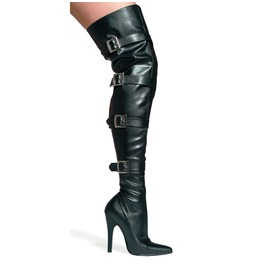 Buckle Up Black Matte Thigh High Buckled Boots Size 12