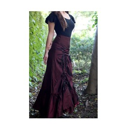 Black Purple Or Red Long Victorian Ruffle Goth Gypsy Skirt Reg Plus Sizes