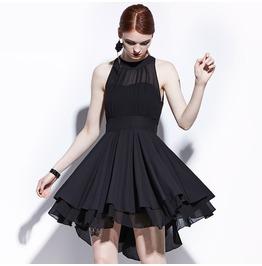 Summer Sleveless See Though Chiffon High Low Bodycon Goth Womens Mini Dress