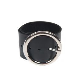 Black Genuine Leather Bracelet/Metal Buckle Wristband/Black Leather Band