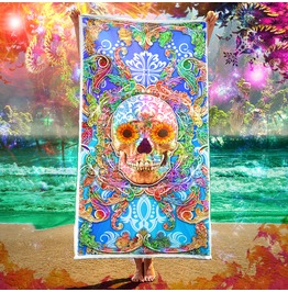 Colorful Sugar Skull Beach Towel / Different Eyes Options