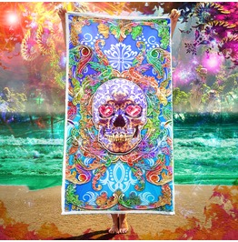 Yami Kawaii, Menhera Sugar Skull Beach Towel