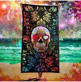 Day Of The Dead Sugar Skull Fiesta Beach Towel