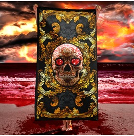 Gold Red Skull Beach Towel / Victorian Gothic Towel