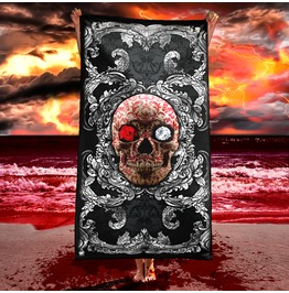 Silver Red Skull Beach Towel / Victorian Gothic Towel
