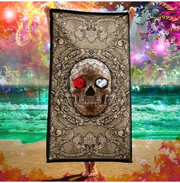 Cream Skull Beach Towel / Macabre, Victorian Towel
