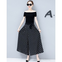 Two Piece Off Shoulder Top Baggy Polka Dots Pants