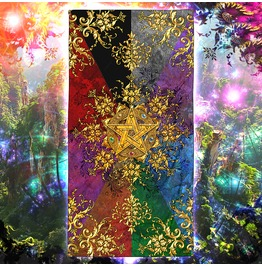 Golden Pentacle Or Pentagram Beach Towel / Wicca Towel