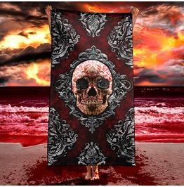 Victorian Gothic Skull Beach Towel