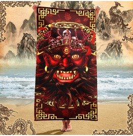 Chinese Demon King Of Hell Beach Towel