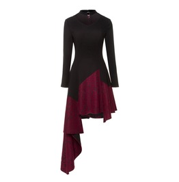 Rebelsmarket asymmetric goth witch burgundy burlesque long sleeve bodycon womens dress dresses 9