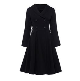 Vintage Goth Retro Double Breasted Womens Midi Dress Coat