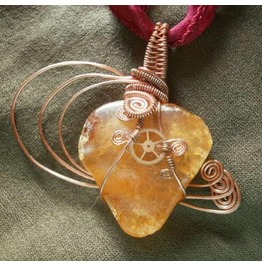 """Icterical Heart"" Steampunk Amber Copper Wire Wrap"