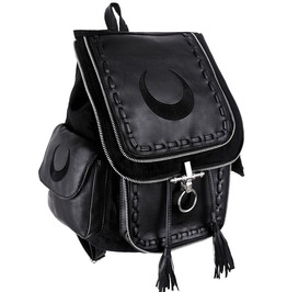 Restyle Clothing Black Crescent Moon O Ring Backpack Rst010