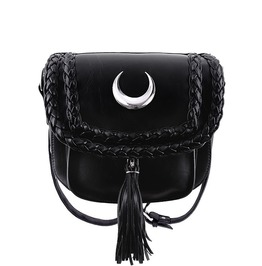 Restyle Clothing Black Faux Leather Moon Mini Bag Rst013
