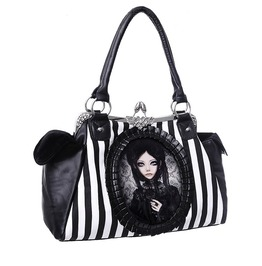 Restyle Clothing Grey Doll Stripped Hand Bag Rst022