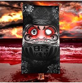 Black Japanese Daruma Beach Towel / Funny Goth Daruma Vampire