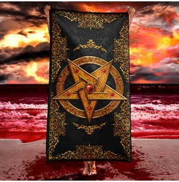 Gold Gothic Pentagram Beach Towel