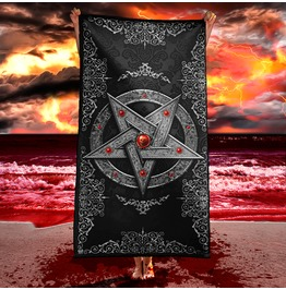 Silver Gothic Pentagram Beach Towel