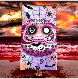 Weird Pastel Goth Daruma Beach Towel / Creepy Cute, Dark Fairy Kei