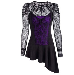Long Sleeve Lace Up Goth Womens Top