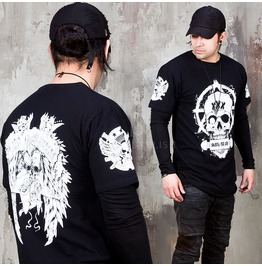 White Skull Printed Black T Shirts 982