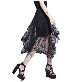 Asymmetric High Waist Mesh Skirt With Stars Print Women's Bottom