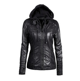 Convertible Collar Faux Leather Detachable Hood Hooded Jacket Coat