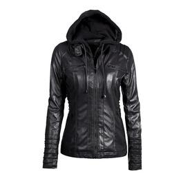 Convertible Collar Faux Leather Detachable Hood Hooded Jacket Coat