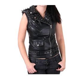 Women Punk Stylish Leather Vest Gothic Leather Studs Vest
