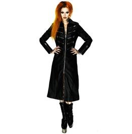 Women Gothic Log Jacket Genuine Leather Party Lady Front Zipper Coat Dress