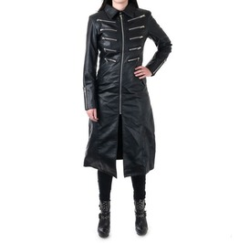 Women Gothic Log Jacket Genuine Leather Party Lady Front Zipper Coat Dress