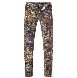 Patchwork Pattern Print Slim Stretch Denim Jeans Pants